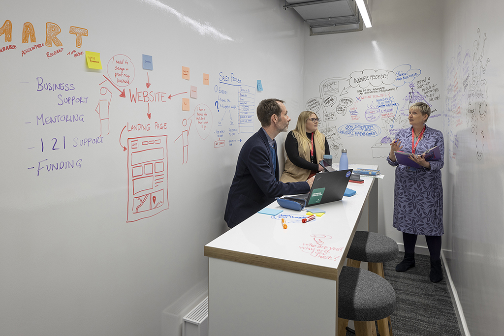 Businesses mapping ideas in coworking space Nottingham